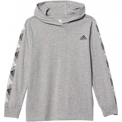adidas boys long sleeve cotton jersey hooded t shirt white