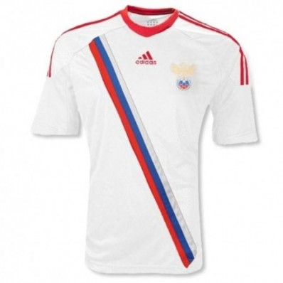 adidas men's russia away soccer jersey 2012 - white/red